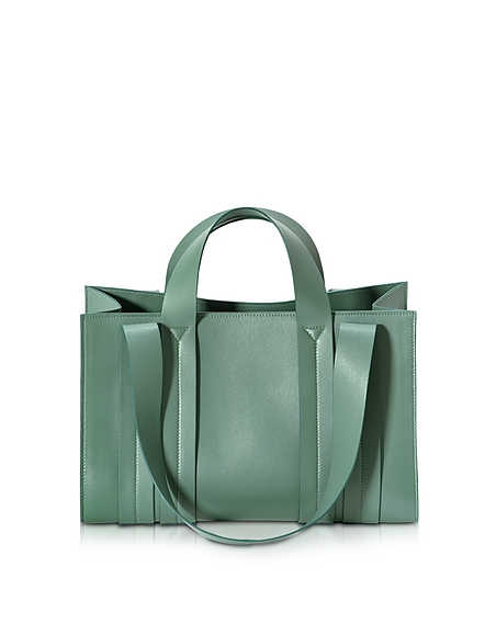 Foto Corto Moltedo Costanza Beach Club Medium Shopper in Pelle Verde Salvia Borse donna