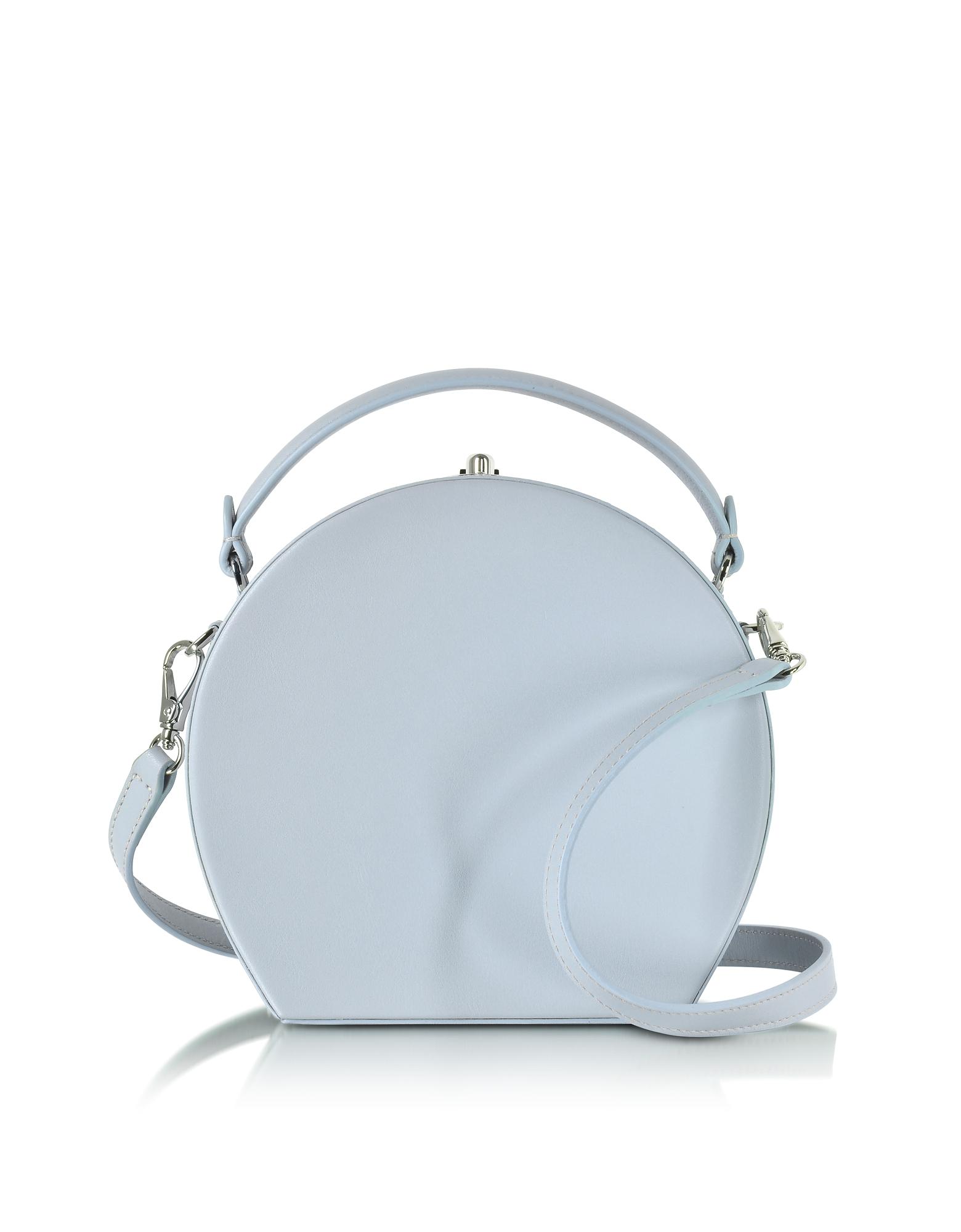 Bertoni Pale Blue Leather Bertoncina Satchel Bag