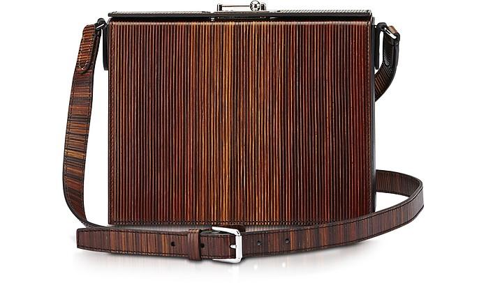 Gemma Black and Wood-Effect Leather Crossbody Bag - Bertoni 1949