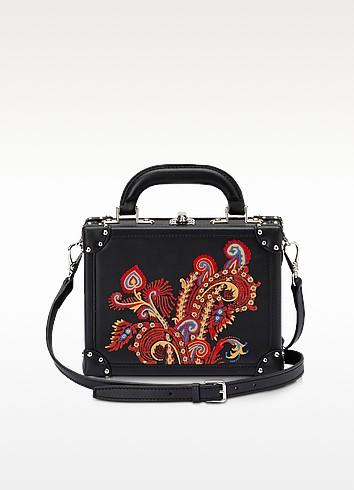 Black Paisley Leather Mini Squared Bertoncina Bag - Bertoni 1949