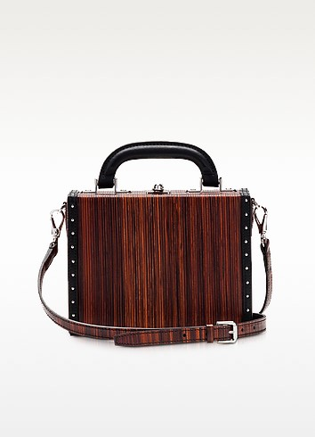 Black Wood Effect Leather Mini Squared Bertoncina Bag - Bertoni 1949