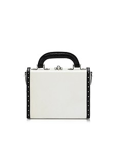 White and black Mini Squared Bertoncina Bag - Bertoni 1949