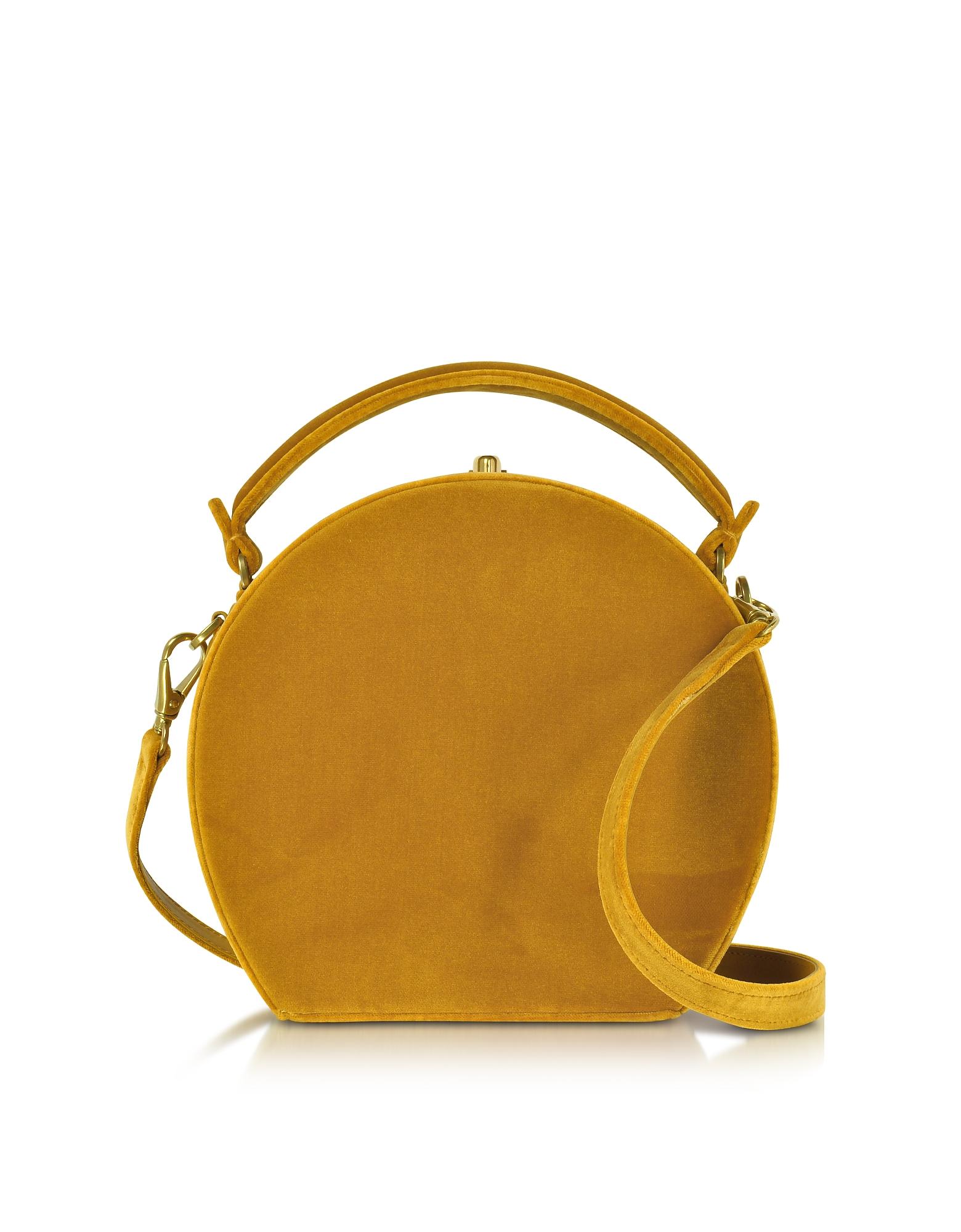 Mustard Velvet Bertoncina Satchel Bag