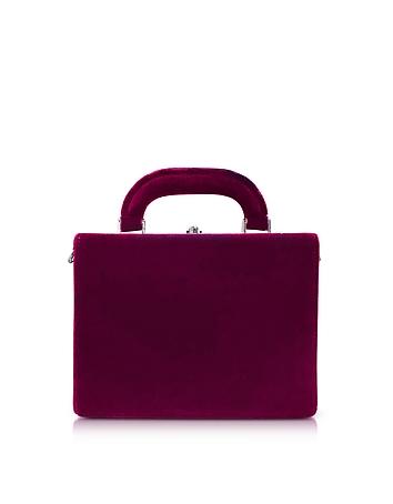Bertoni 1949 - Burgundy Velvet Mini Squared Bertoncina Satchel Bag