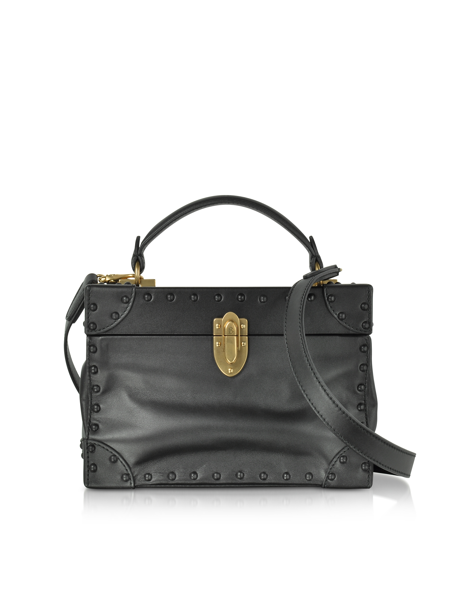 Bertoni 1949 Handbags, Black Leather Soft Bertoncina Satchel Bag w/French Leather Covered Studs