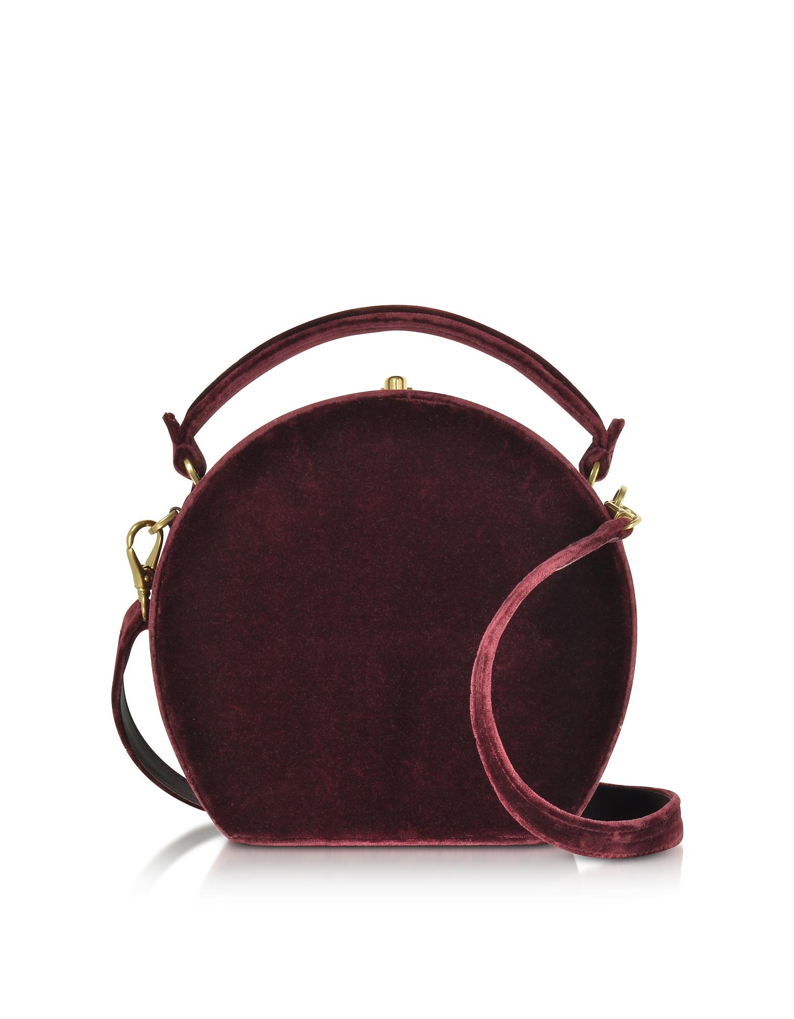 Burgundy Velvet Bertoncina Satchel Bag