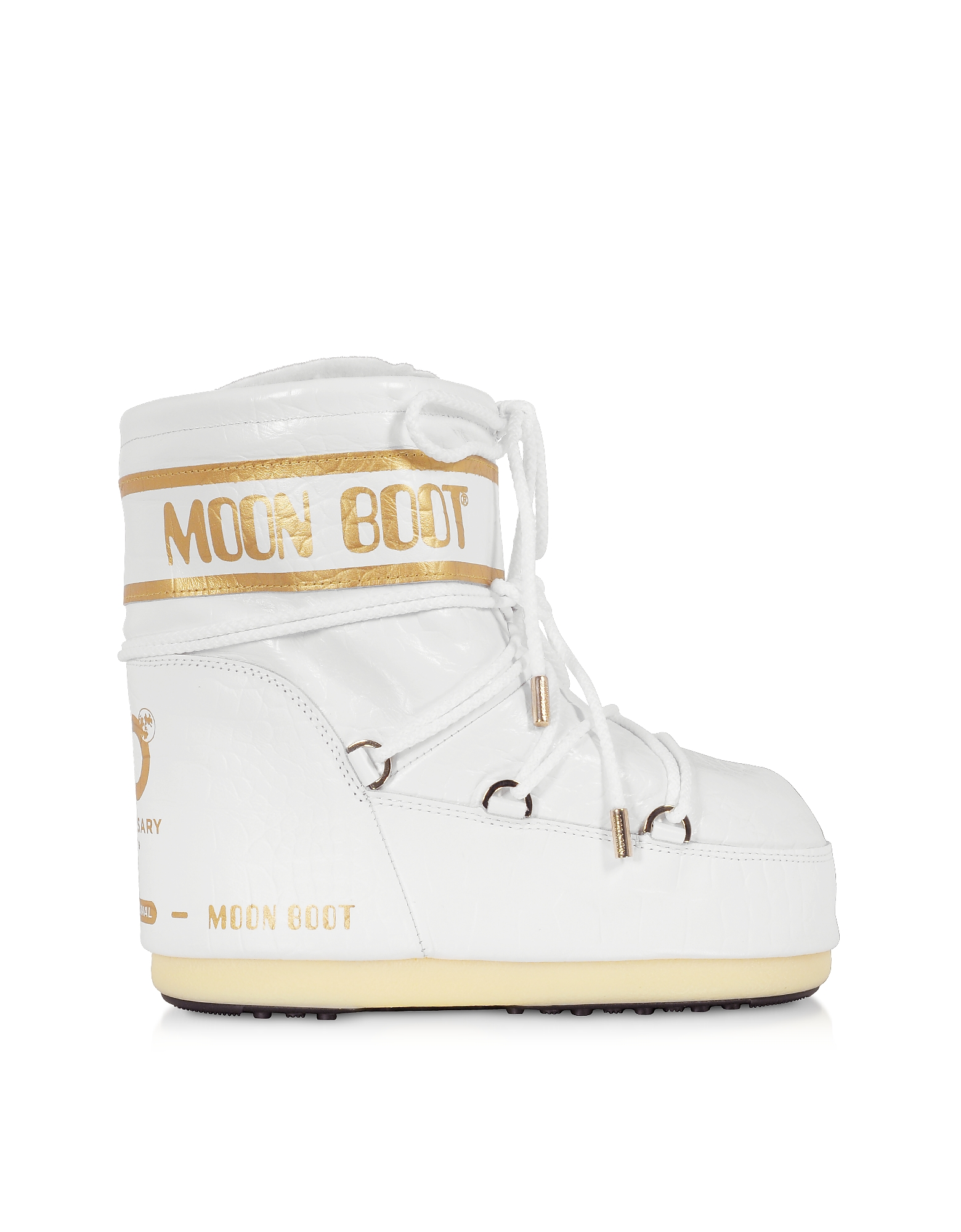 Moon Boot Designer Shoes, Classic 50 White Crocodile Boots
