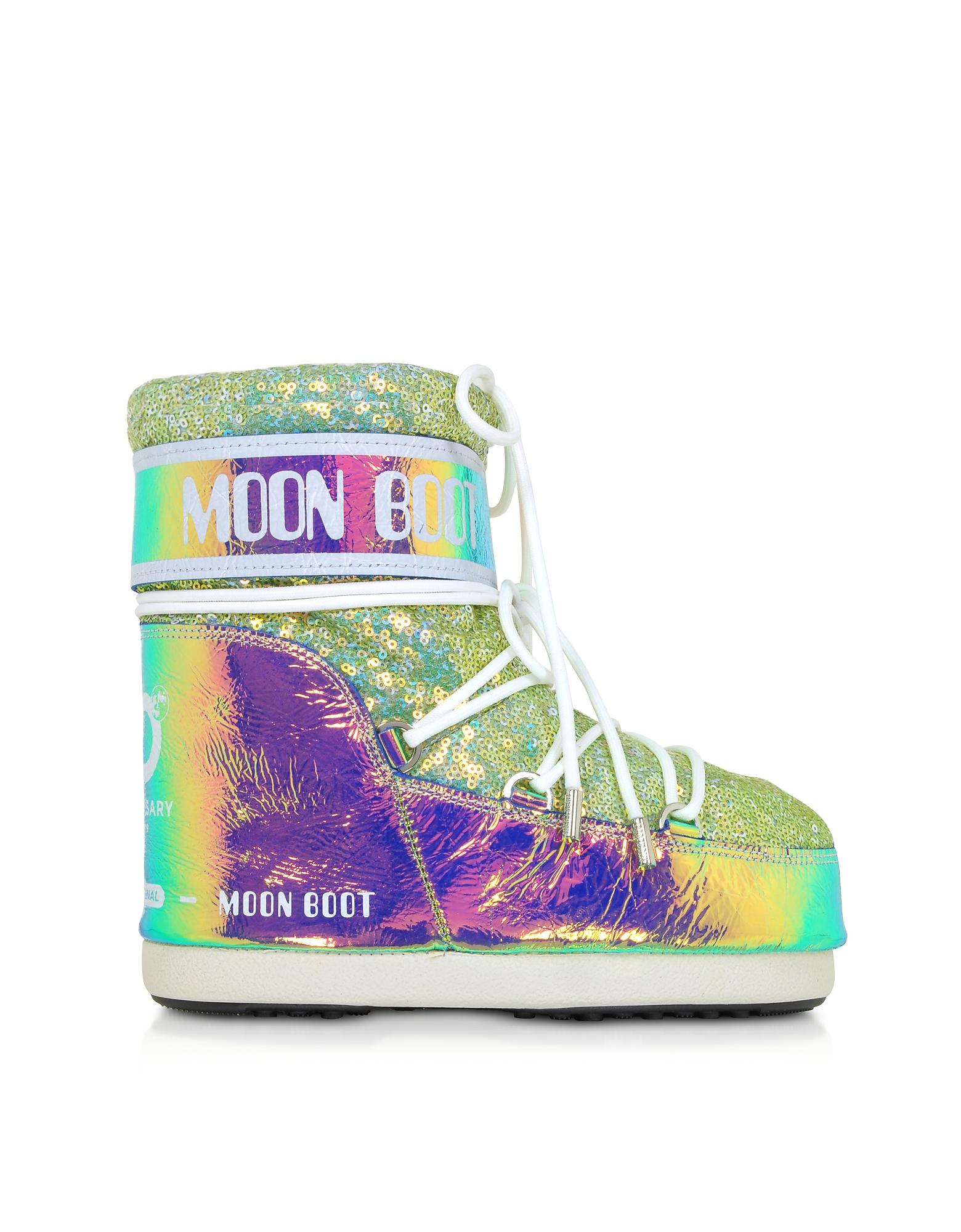 Moon Boot Designer Shoes, Classic 50 Aquamarine Leather Hologram Boots