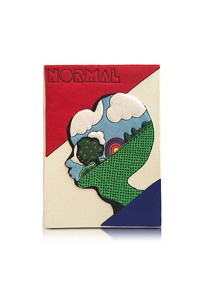 Normal Cream Cotton Coated Brass Book Clutch - Olympia Le-Tan