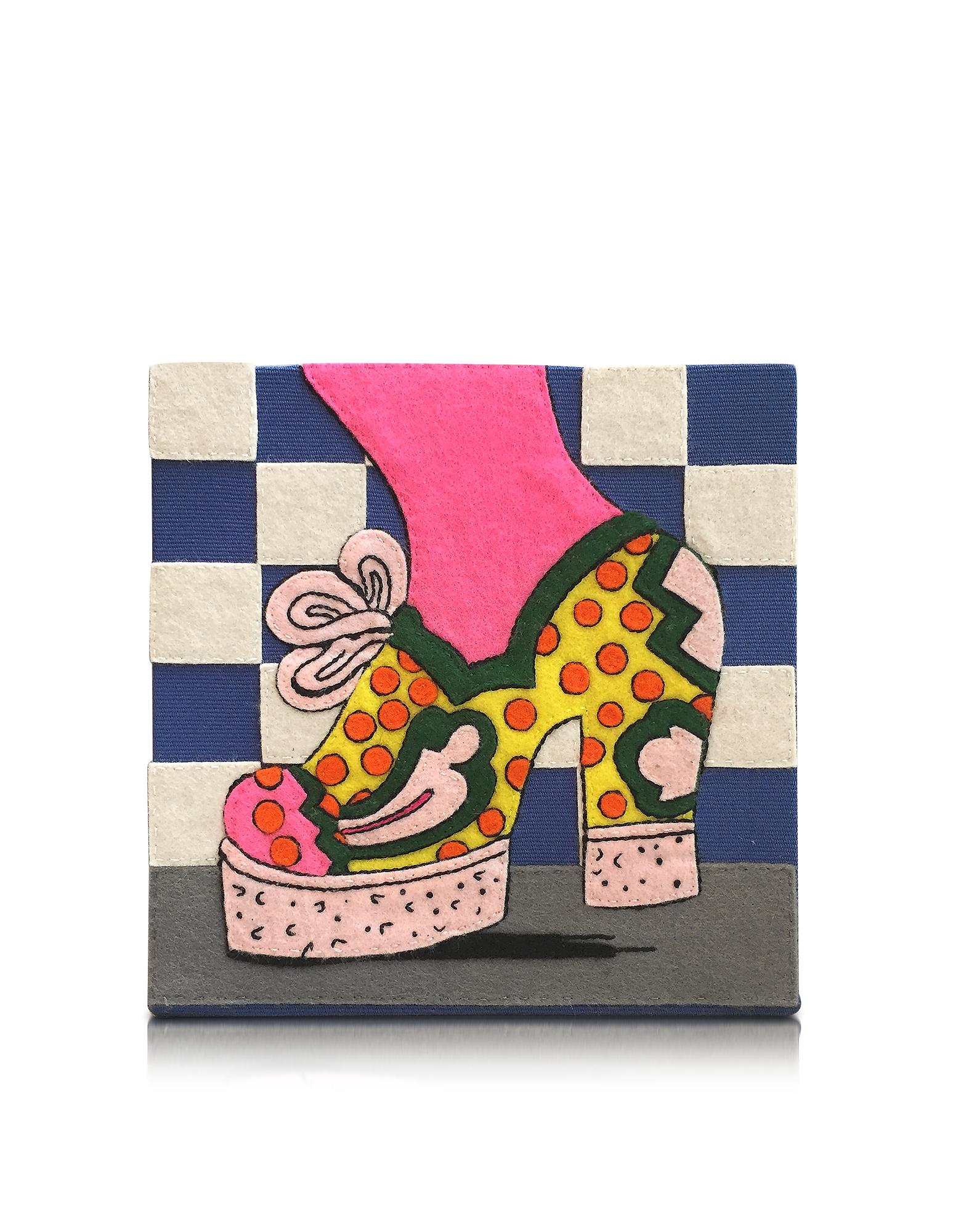 Фото Polka Dot Shoe - Клатч Книжка из Меди с Покрытием из Ткани. Купить с доставкой