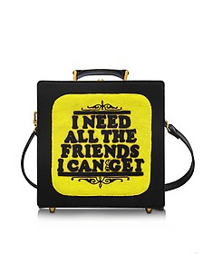 I Need All The Friends I Can Borsa con Tracolla in Cotone e Seta Ricamato a Mano - Olympia Le-Tan
