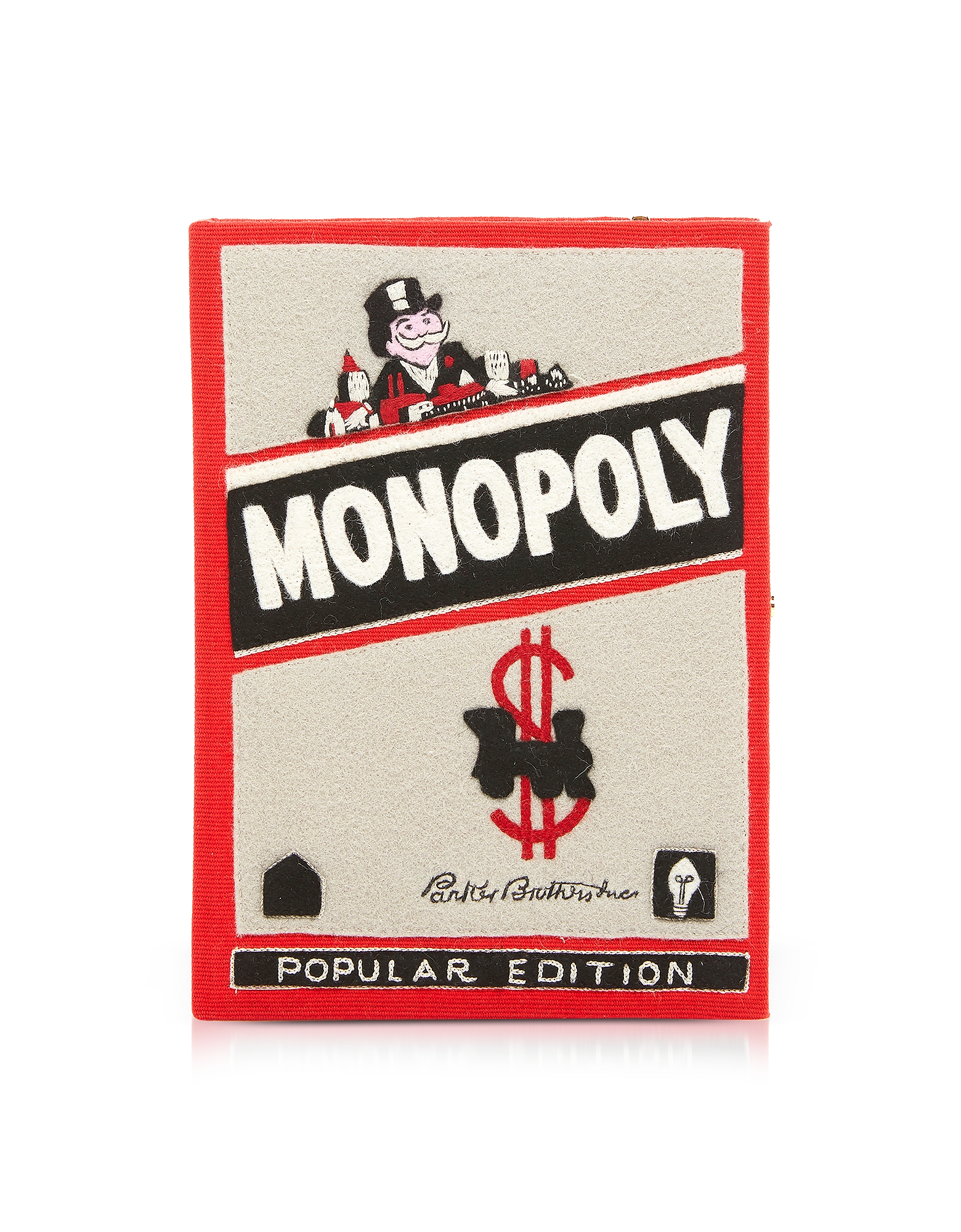 Monopoly Popular Book Clutch in Cotone e Feltro Ricamata in Seta