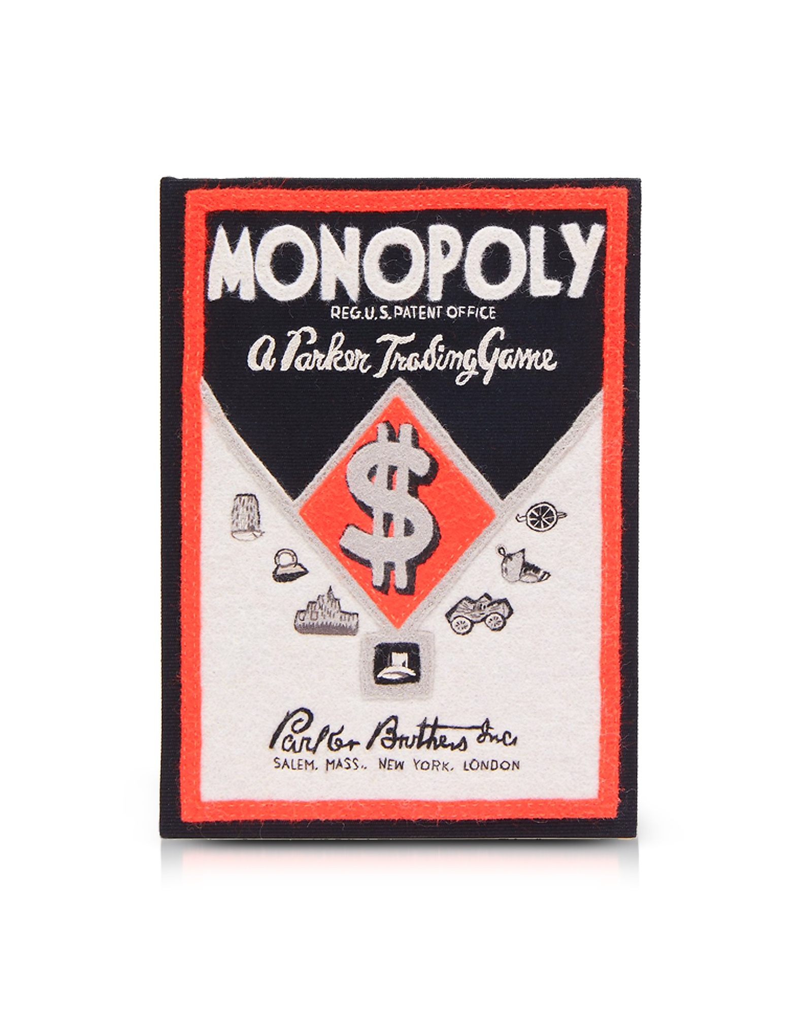 Monopoly Parker Tarding Game Book Clutch in Cotone e Feltro Ricamata in Seta