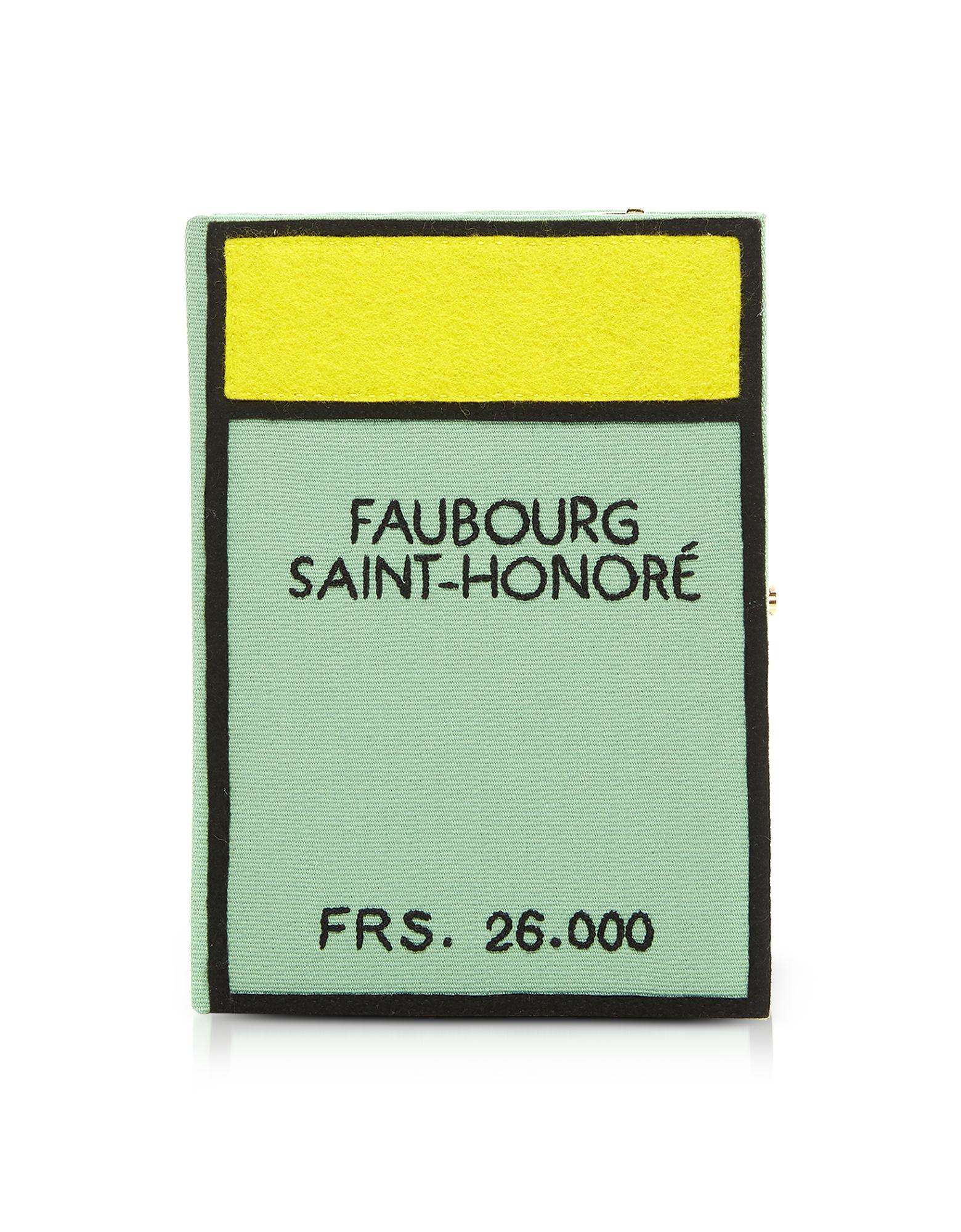 Monopoly Faubourg Saint Honore Book Clutch in Cotone e Feltro Ricamata