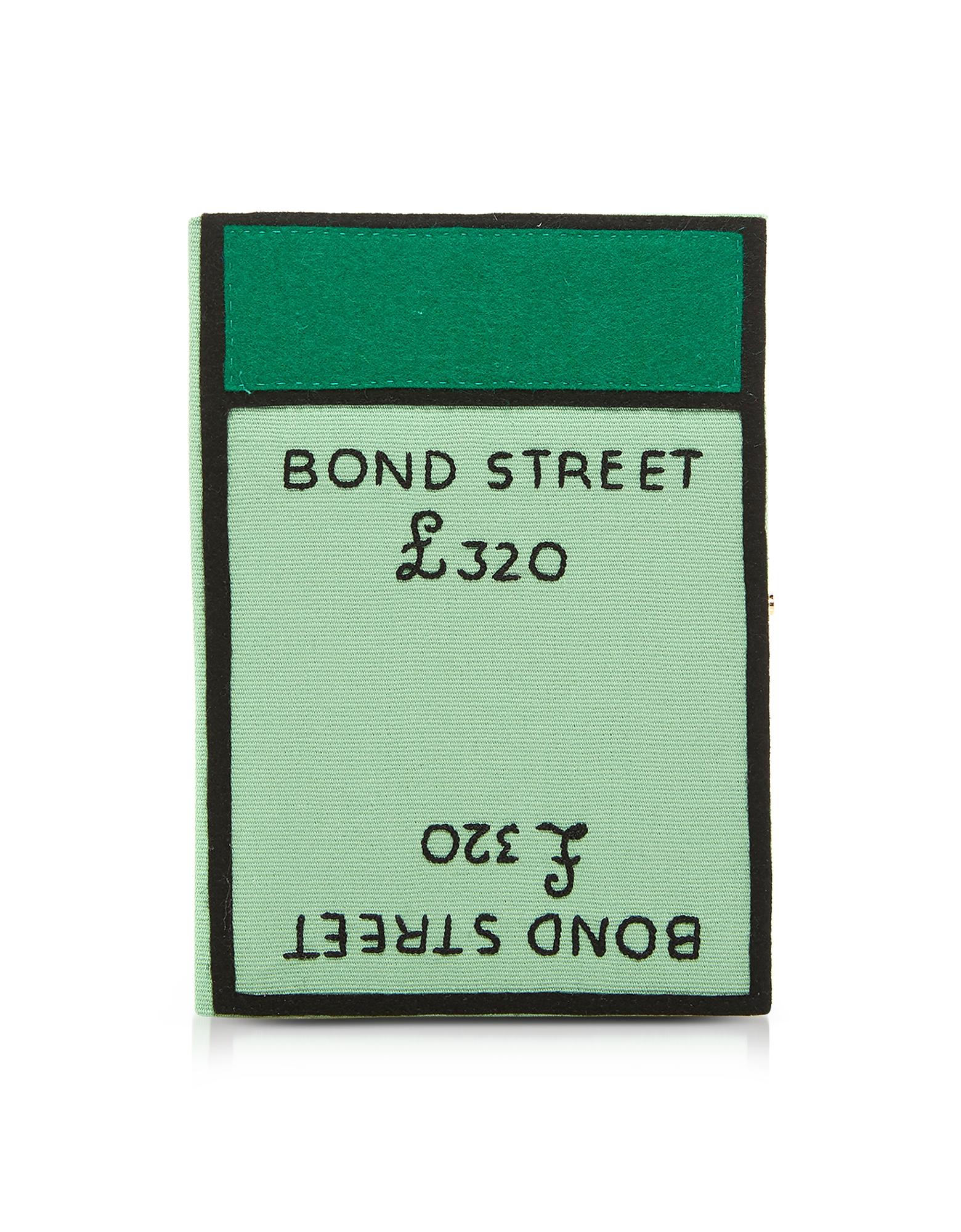 Monopoly Bond Street Book Clutch in Cotone e Feltro Ricamata in Seta