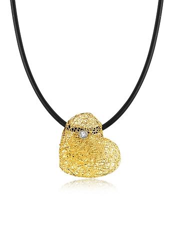 Orlando Orlandini - Woven Light Yellow Gold Heart Pendant Necklace w/Diamond