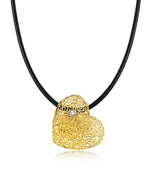 Woven Light Yellow Gold Heart Pendant Necklace w/Diamond  - Orlando Orlandini