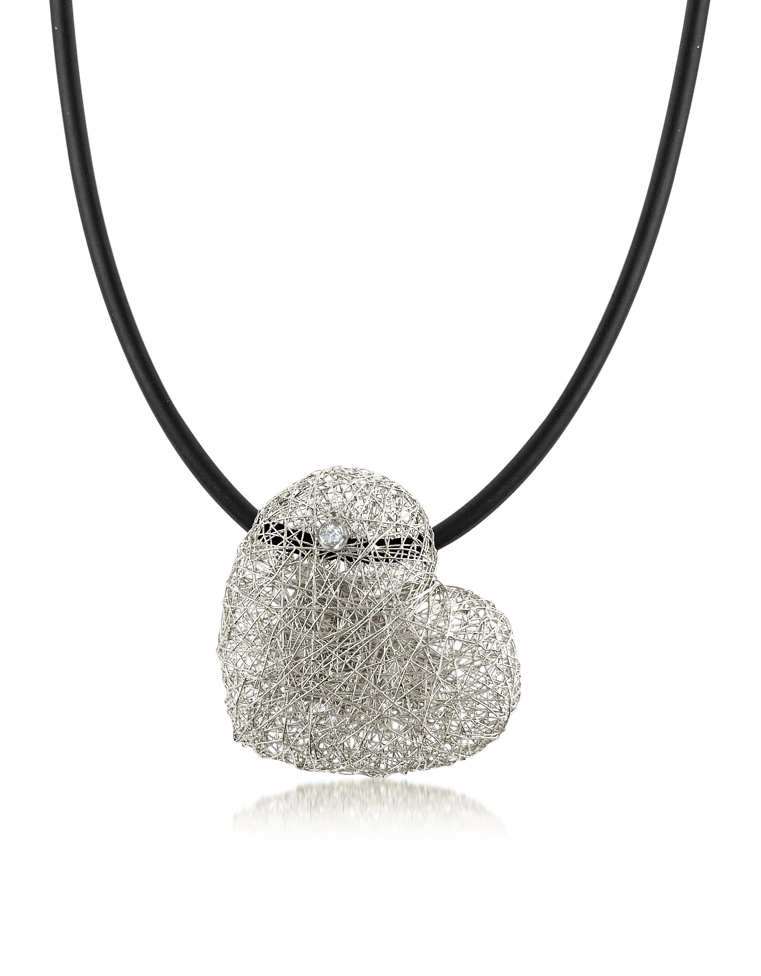 Orlando Orlandini Necklaces, Woven White Gold Heart Pendant Necklace w/Diamond