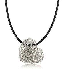 Woven White Gold Heart Pendant Necklace w/Diamond - Orlando Orlandini