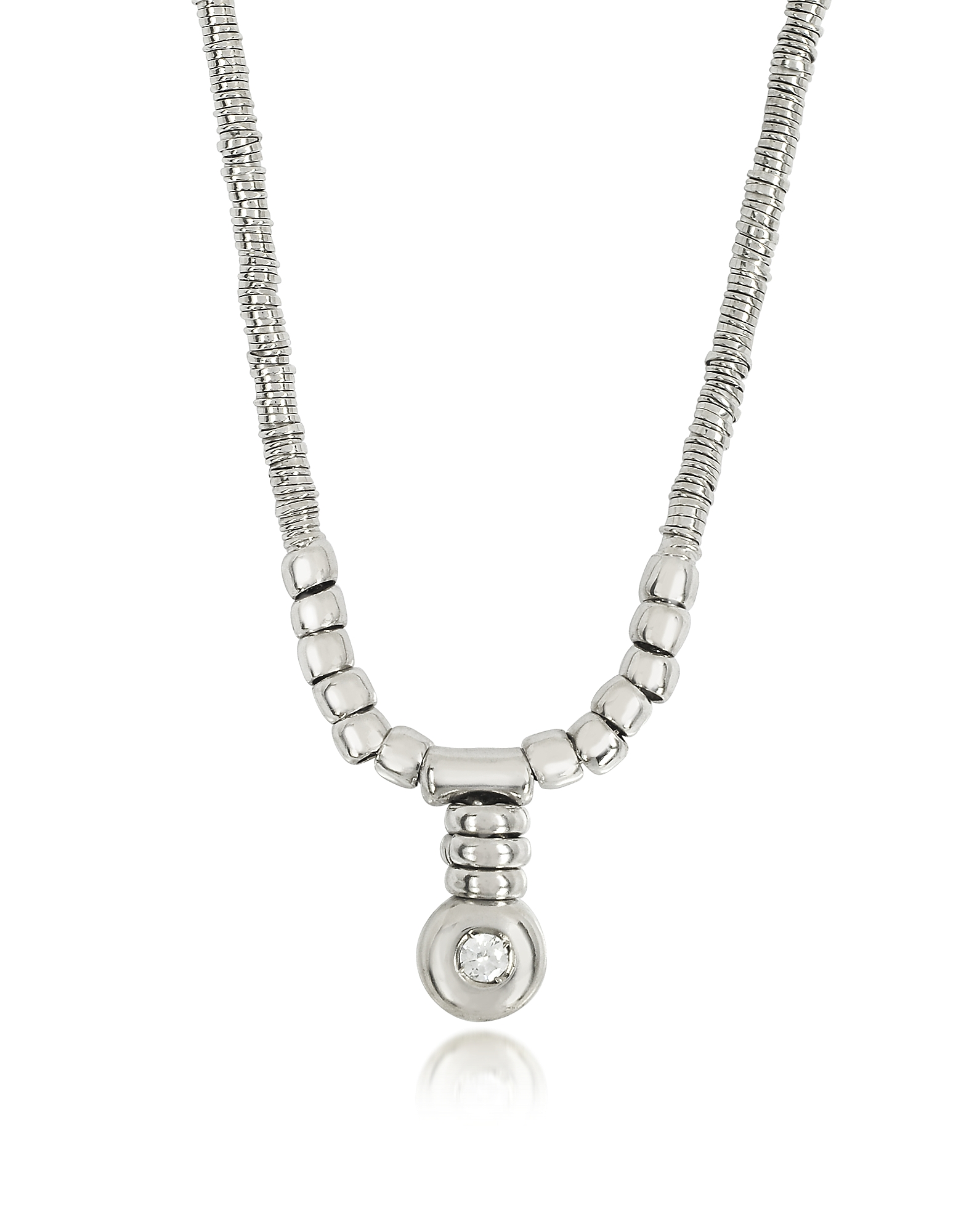 Orlando Orlandini Necklaces, White Gold Chain Snake Necklace w/Diamond