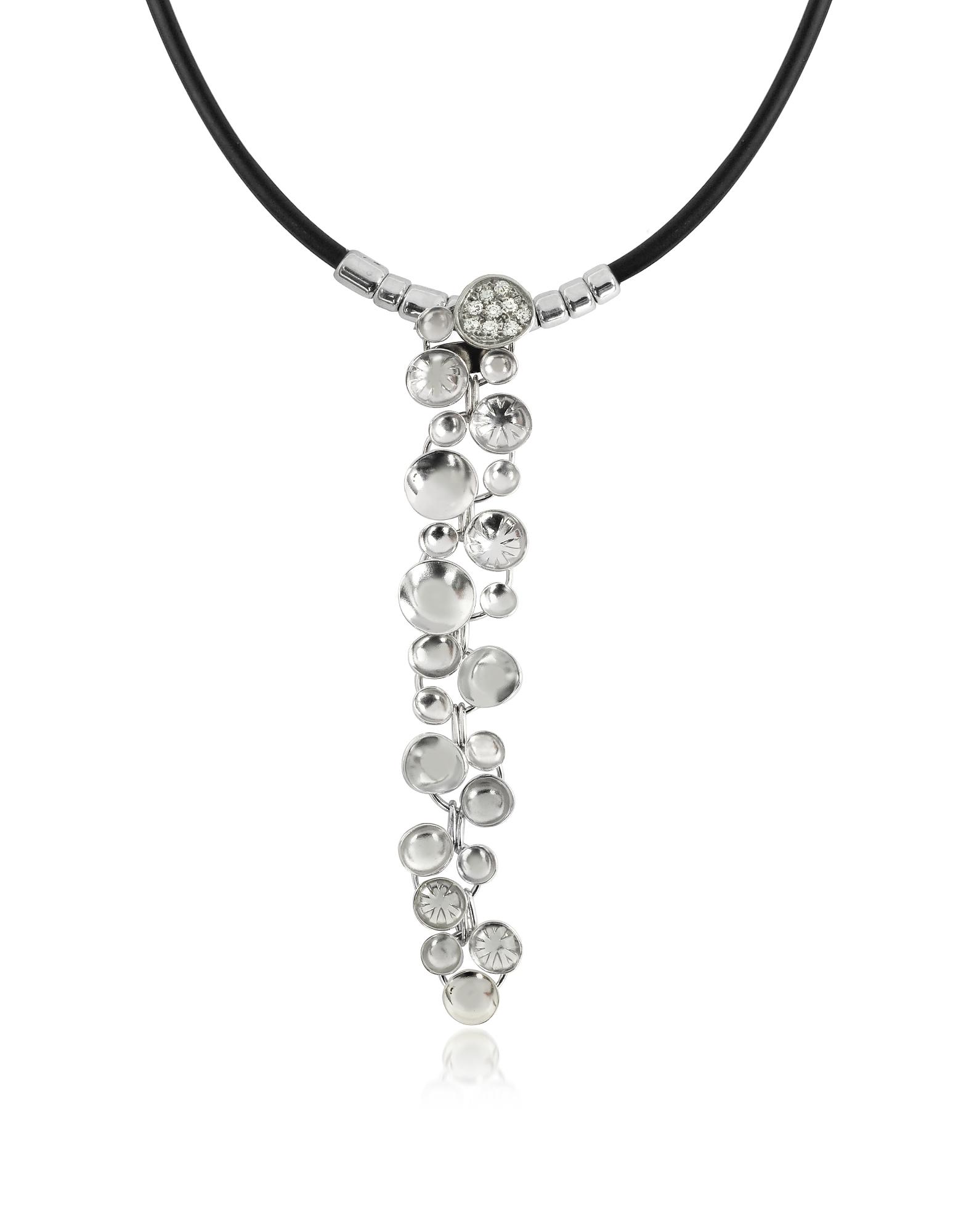 Фото Ожерелье с Кулоном Каскадом из Белого Золота с Брилииантом. Купить с доставкой