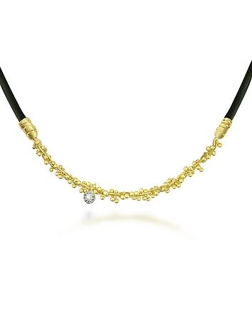 Orlando Orlandini - Flirt - Diamond 18K Yellow Gold and Rubber Necklace