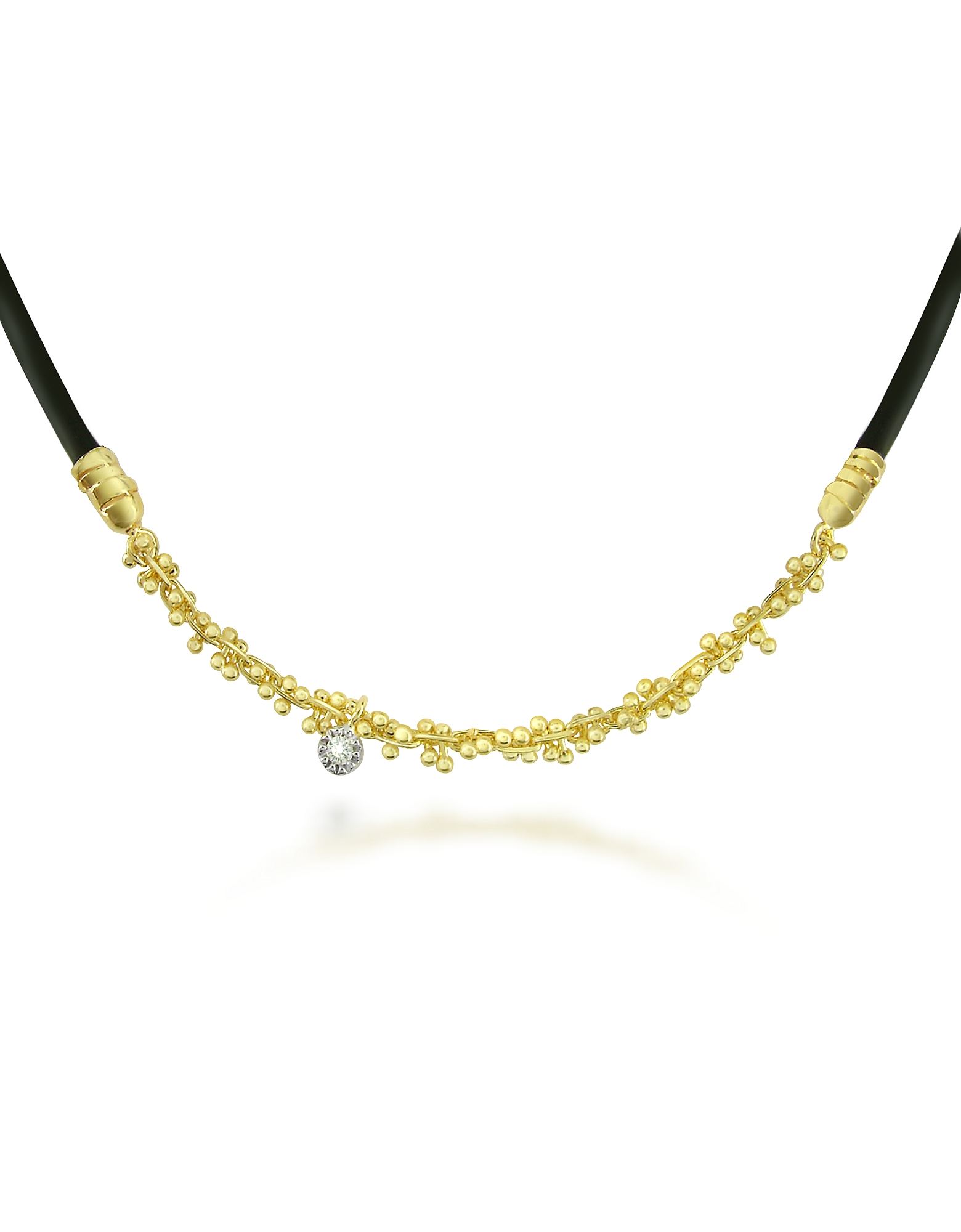 Orlando Orlandini Necklaces, Flirt - Diamond 18K Yellow Gold and Rubber Necklace