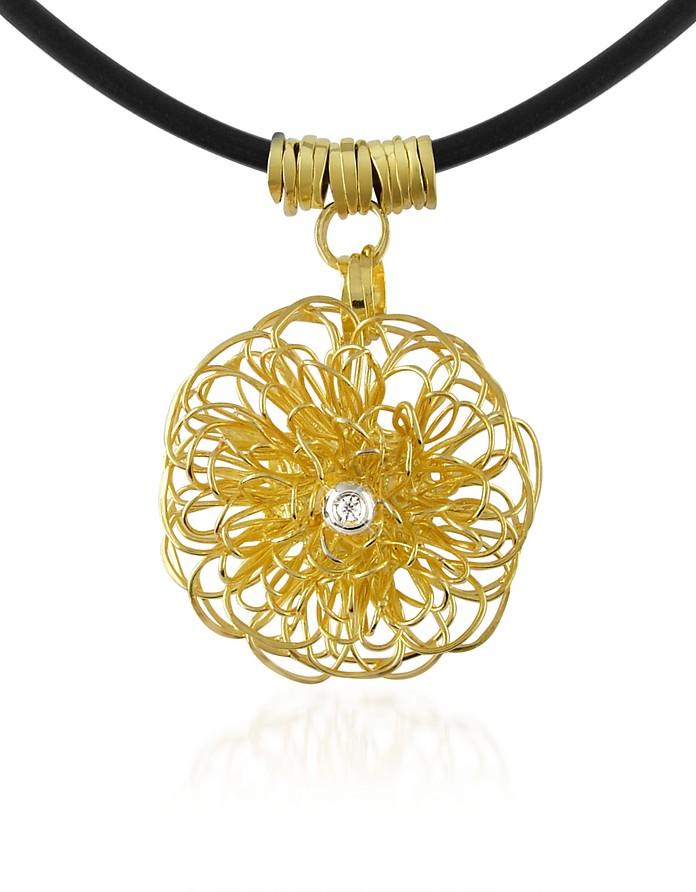 Central Diamond 18K Yellow Gold Pendant Necklace - Orlando Orlandini
