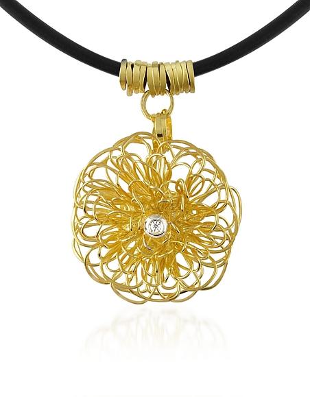 Orlando Orlandini Collier à pendentif en or jaune 750/1000 et diamant 0.04Ct