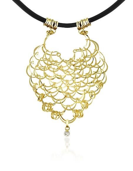 Orlando Orlandini Scintille - Collier filet d'or jaune 750/1000 et diamant 0.05Ct