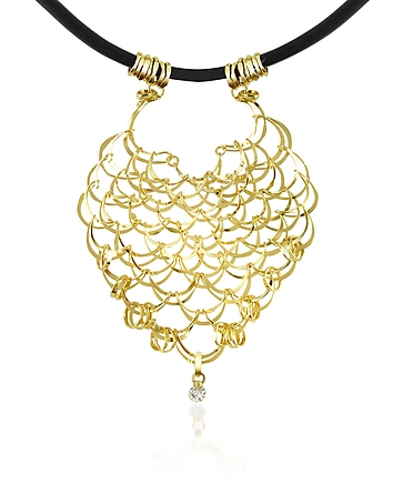 Orlando Orlandini - Scintille - Diamond Drop 18K Yellow Gold Net Necklace