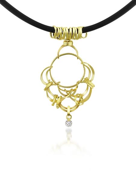 Orlando Orlandini Scintille - Collier filet d'or jaune 750/1000 et diamant 0.04Ct