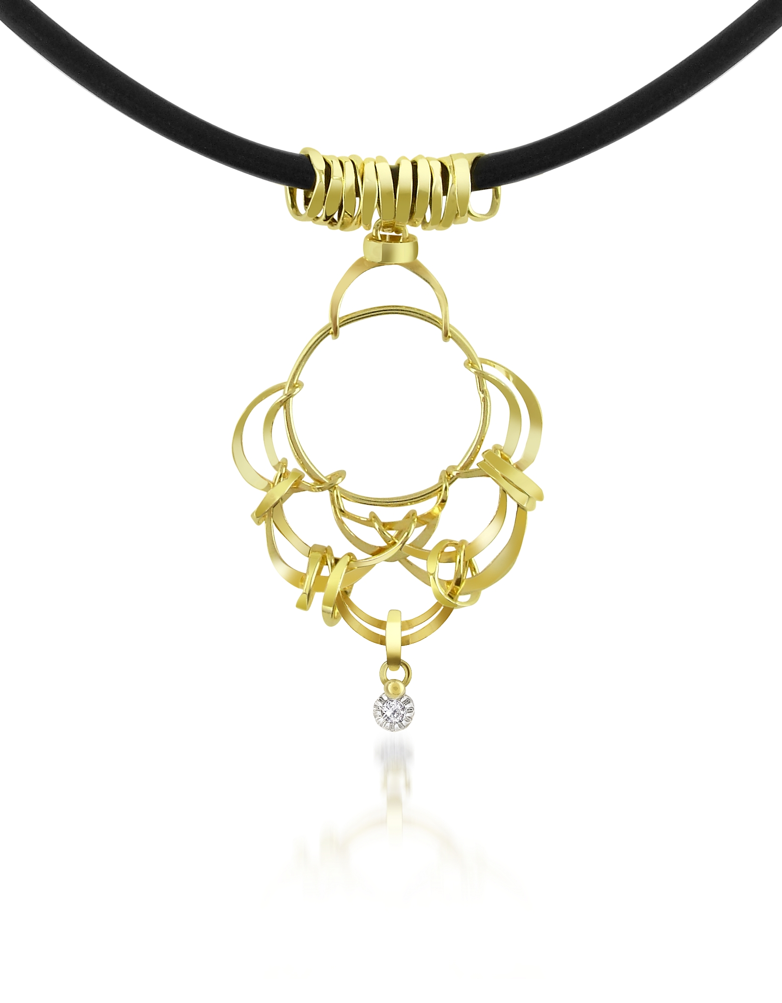 Orlando Orlandini Necklaces, Scintille - Diamond Drop 18K Yellow Gold Pendant Necklace