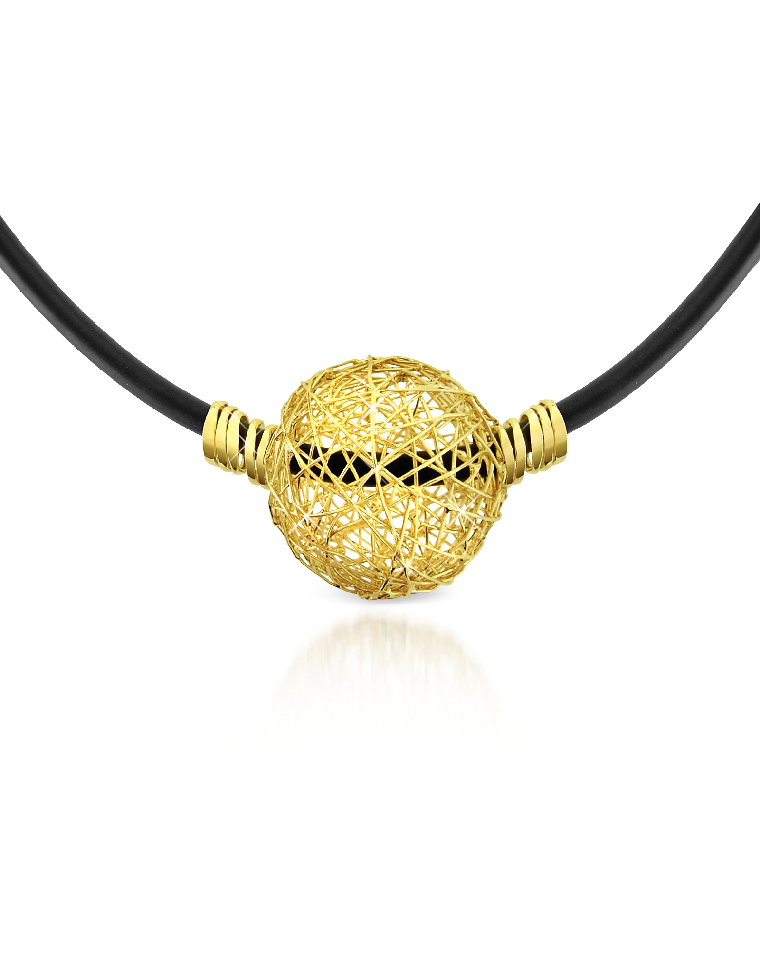 Arianna – 18K Yellow Gold Wire Pendant Rubber Necklace