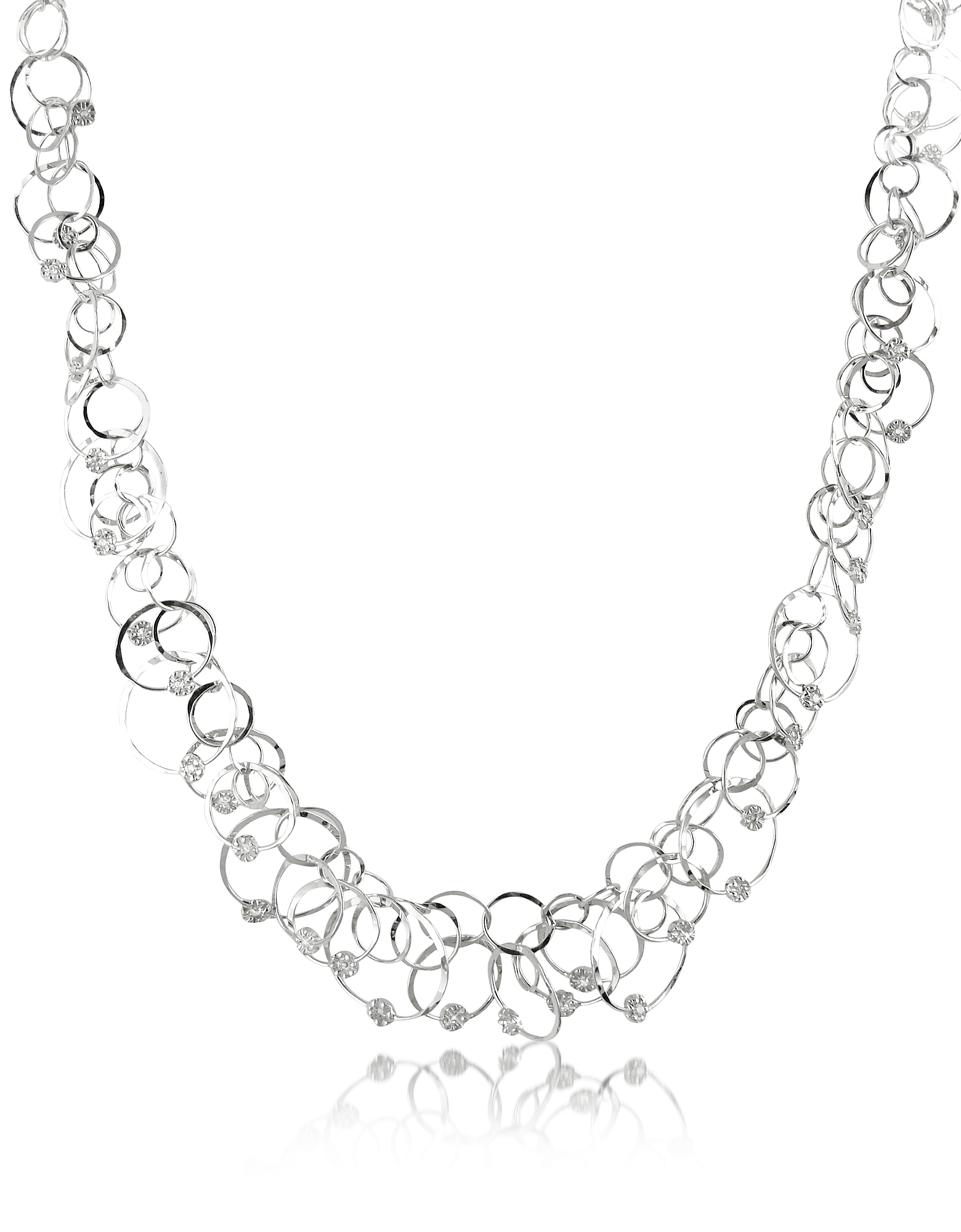 Orlando Orlandini Necklaces, Scintille Anniversary - Diamond 18K White Gold Chain Necklace