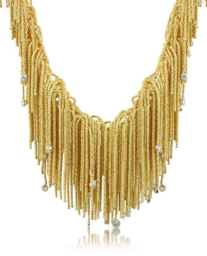 Flirt - Diamond Drops 18K Yellow Gold Thread Necklace - Orlando Orlandini