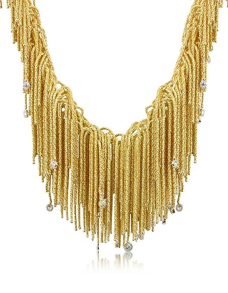 Image of Orlando Orlandini Flirt - Collana Lavorazione a Frange in Oro 18ct con Diamanti