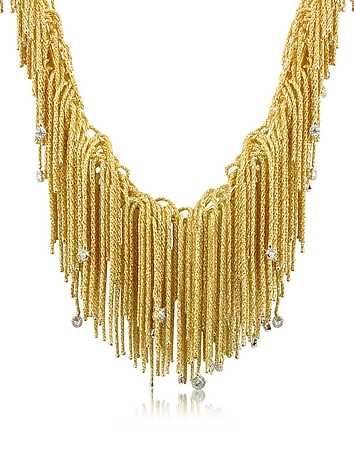 Flirt - Diamond Drops 18K Yellow Gold Thread Necklace