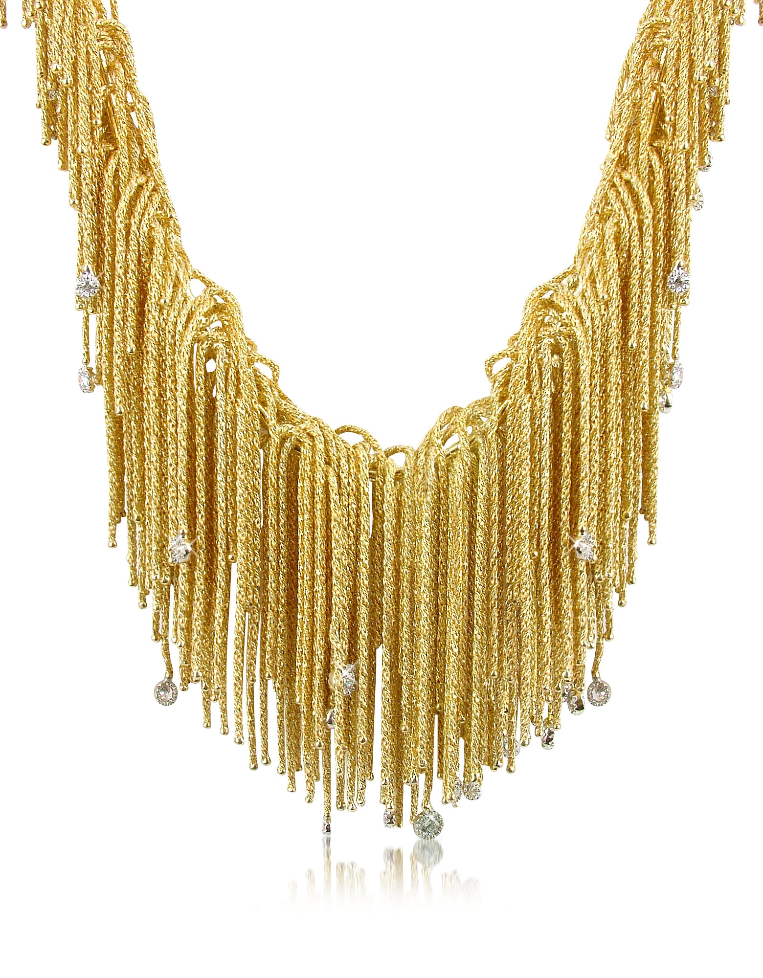 Orlando Orlandini Necklaces, Flirt - Diamond Drops 18K Yellow Gold Thread Necklace