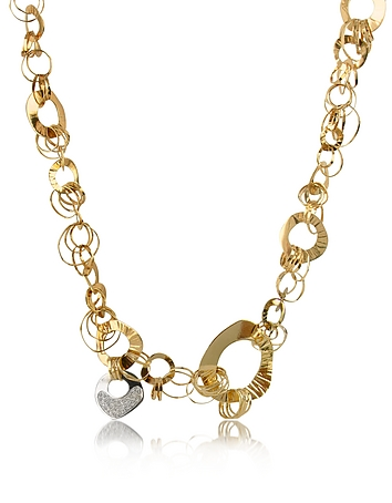 Fashion - Diamond 18K Rose Gold Chain Necklace