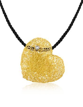 Arianna - Diamond Heart Pendant w/Velvet Lace