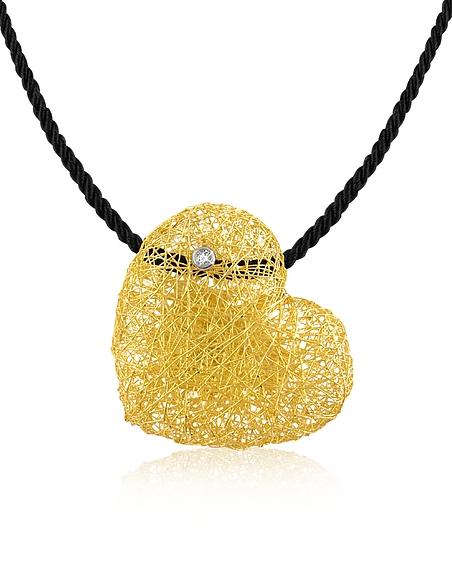 Orlando Orlandini Arianna - Pendentif coeur de diamant sur lacet de velours