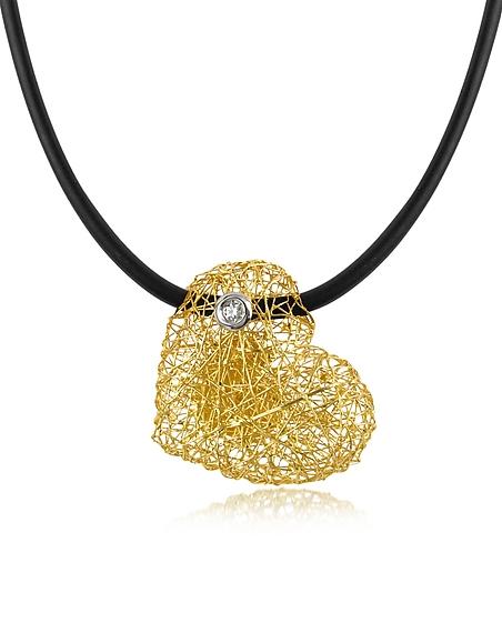 Foto Orlando Orlandini Arianna - Piccolo Pendente a Cuore in Oro 18ct. con Diamante su Cordino in Raso Collane