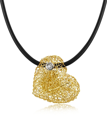 Orlando Orlandini - Arianna - Small Diamond Heart Pendant w/Rubber Lace