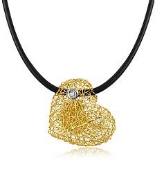 Arianna - Small Diamond Heart Pendant w/Rubber Lace - Orlando Orlandini