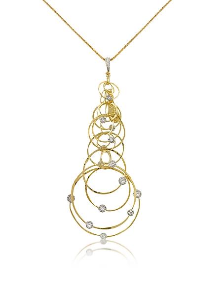 Orlando Orlandini Scintille - Collier à pendentifs cercles en or 750 et diamants