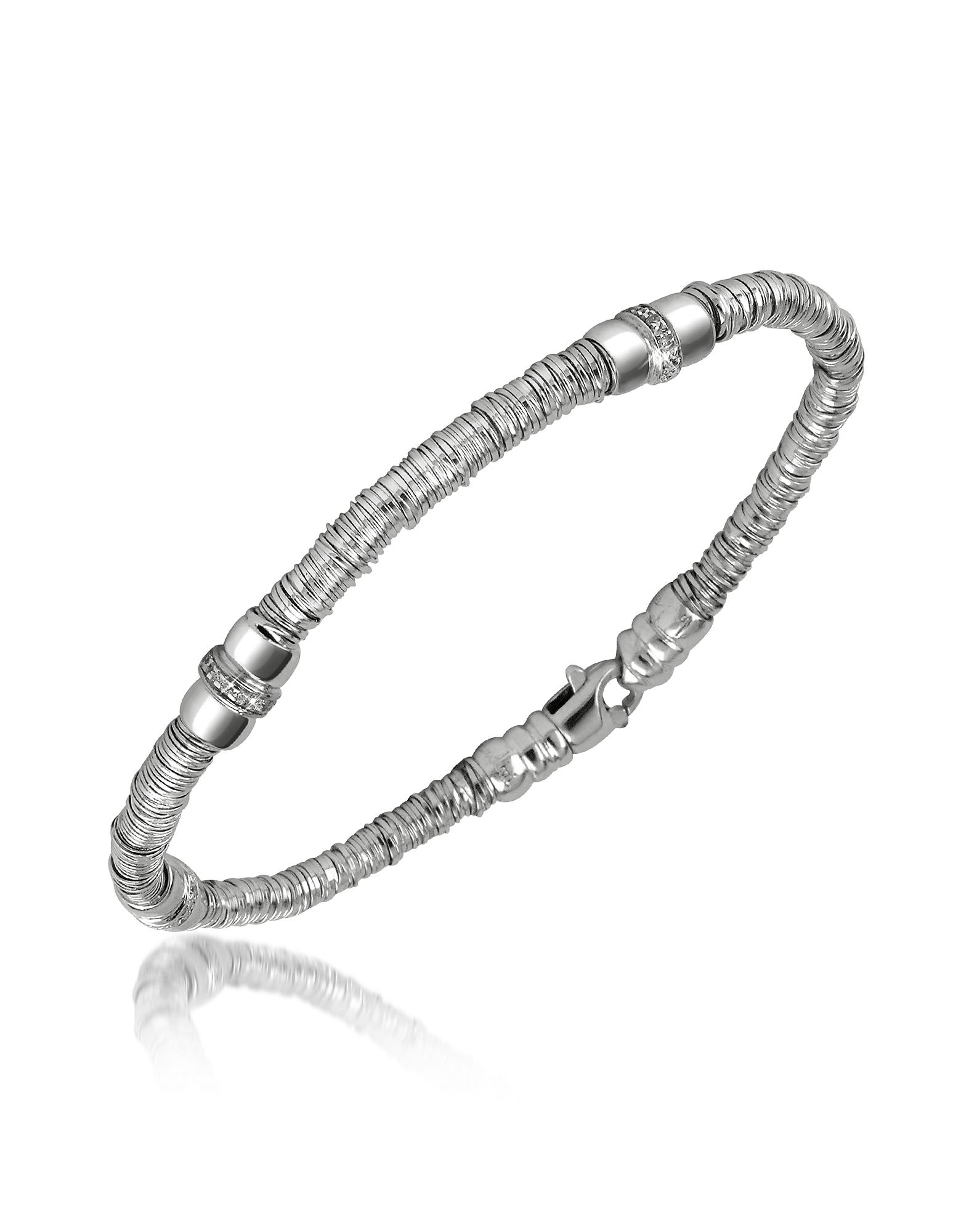 Orlando Orlandini Designer Bracelets, Capriccio - Diamond 18K White Gold Chain Snake Bracelet