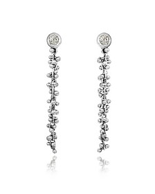 White Gold Cascade Drop Earrings w/Diamond - Orlando Orlandini