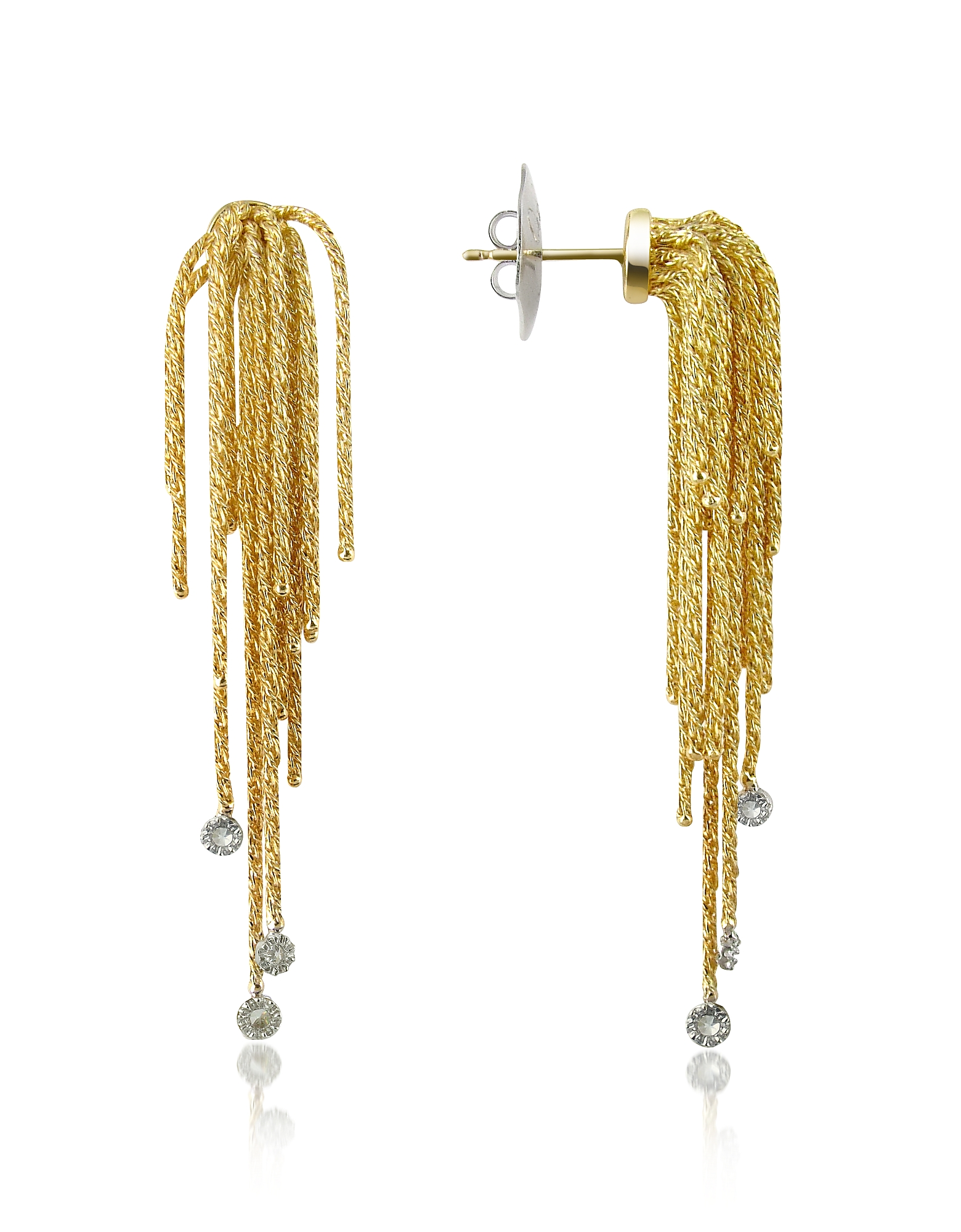 Orlando Orlandini Designer Earrings, Flirt - Diamond Drops 18K Yellow Gold Earrings