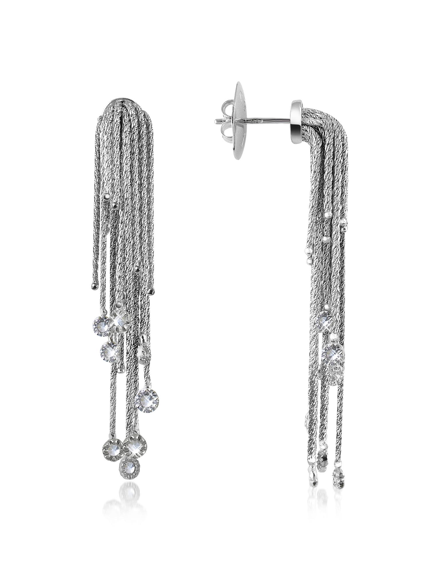 Orlando Orlandini Designer Earrings, Flirt - Diamond Drops 18K White Gold Earrings